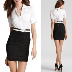 Alice + Olivia Black and White Ruched Dress NWT